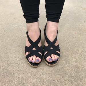 Black Strappy Wedge Slingback Sandals